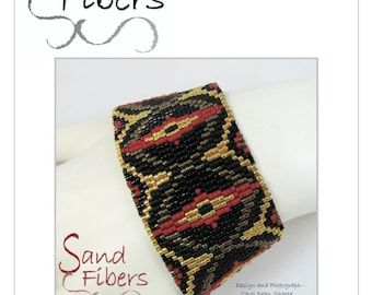 Peyote Pattern - Dragon's Eye Peyote Cuff / Bracelet  - A Sand Fibers For Personal/Commercial Use PDF Pattern