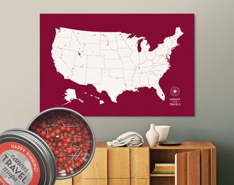 Push Pin USA Map (Berry) Travel Map Push Pin Map Travel Gift Road Trip Map of the USA on Canvas Personalized Gift For Family Name Sign