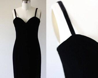 1980s black velvet mini dress //  1980s velvet dress // vintage party dress
