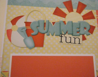 SUMMER FUN Premade 12x12 Scrapbook Pages for the Beach Boy Girl
