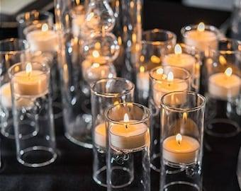 Glass Tealight Holders Miniature Luminaries Wedding Reception Table Decorations Centerpiece Candles - Set of 4 - MW16299