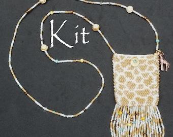 Giraffe Amulet Bag Necklace Purse Kit for Bead Knitting
