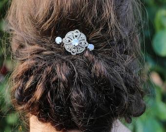 Art Deco Hair Comb , Vintage Style Crystal Hair Comb, Art Deco headpiece, White Opal  Bridal Headpiece, Wedding Hair Comb