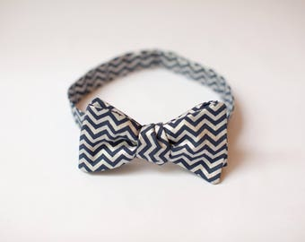 Navy Blue and Silver Chevron Bow Tie