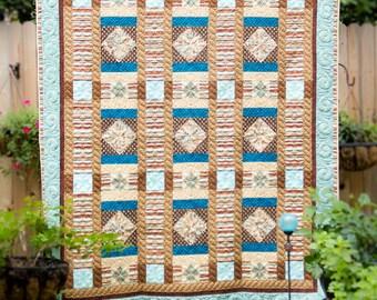 Aqua & Brown Patchwork Quilt