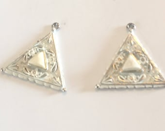 Lot of 2 Vintage and Salvaged Shabby Chic White Triangle Pendants for Repurposing