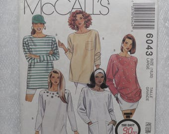 McCall's 6043 Pattern Misses' Tunic Top with Pockets Long Sleeve Size Large 18 20 Uncut Easy