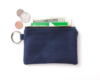 Canvas Keychain Wallet Coin Purse Zipper Pouch Blue