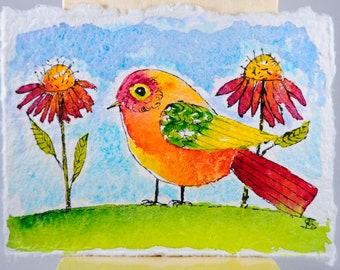 Folk Art Bird Painting - Watercolor Bird - Bird Illustration - Illustration Art - Colorful Bird - Bird and Flowers