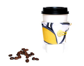Fabric coffee cup cozy, hot cup cozy, yellow black white, coffee cup holder, coffee lover gift, coffee to go, coffee jacket