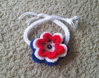 Crochet Patriotic Flower Headband Fourth of July Baby Girl Photo Prop Made to Order