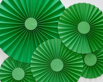 Green Rosettes, Pinwheels, Paper Fan, Party Decor, Cake Backdrop, Photo Backdrop, Set of 5