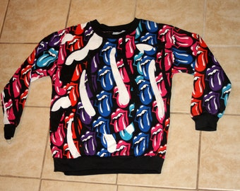 Rolling Stones All Over Print Very RARE Deadstock New Lightweight Pullover Sweatshirt Vintage 1989