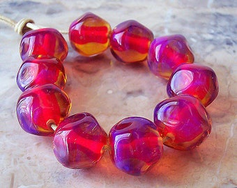 Handmade Silver Glass Lampwork Nuggets(5 pcs). Fuchsia Pink Silver Glass Beads. Bright Pink Lampwork Beads. Made to order