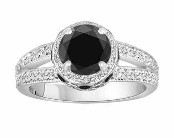Natural Black Diamond Wedding Ring, Engagement Ring 14K White Gold 1.79 Carat Unique handmade Certified