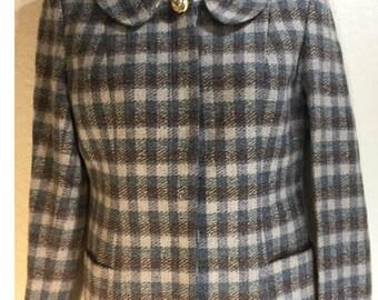 Vtg 1960's Wool Plaid Blazer Jacket Peter Pan Collar Teal Brown Ivory sz 6