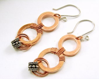 Copper and Bali Silver Earrings, Copper Washer Earrings with Bali Silver Dangles and sterling ear wires