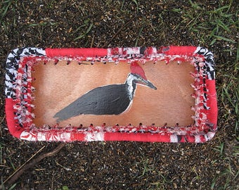 PILEATED WOODPECKER textile art Box BASKET  A Series of Birds
