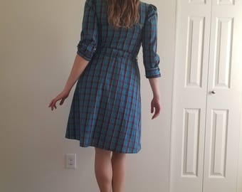 Vintage 1970'S Blue Plaid Shirtwaist dress