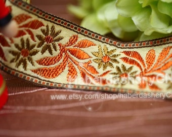 5 yards M09 woven jacquard ribbon with floral pattern