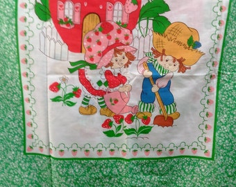 Vintage Handmade Strawberry Shortcake And Huckleberry Pie Panel Curtains With White Ruffles At Bottom/2 Panels/Include 2 Tie Backs (M)