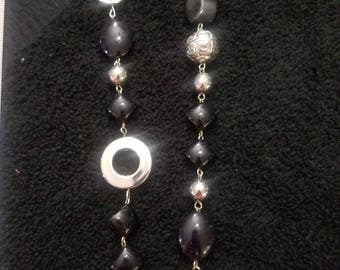Black & Silver Beaded Chain Necklace