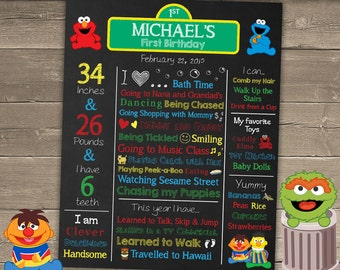 Sesame Street Birthday Poster, Sesame Street Birthday Chalkboard, Sesame Street 1st Birthday, Sesame Street Party Decorations