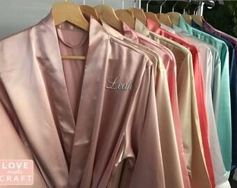 Bridesmaid Robes 1 2 3 4 5 6 7 8 9 10 Personalize Solid Satin Monogram Silk Bridal Shower Wedding Blush Champagne Pink Navy Purple Rose Gold