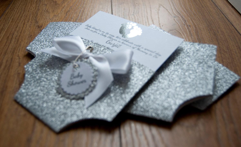 Silver Glitter & Foil Baby Shower Nappy/Diaper Invitation