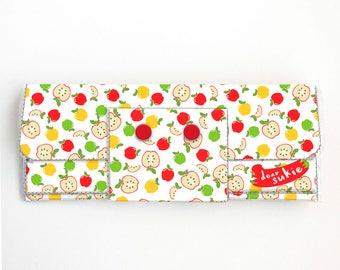 Vinyl Long Wallet - Apples / green, fruit, vegan, pretty, large wallet, clutch, card case, vinyl wallet, woman, kids, red, adorable, cute