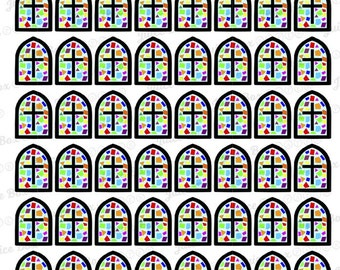 Set of 56 Stained Glass Church/Cross stickers for various planners, journals, calendars