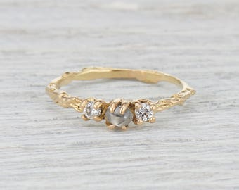 Raw Uncut Diamond Ring - Twig Engagement Ring with Rough Cut and Brilliant Cut Diamonds in Yellow Gold, White Gold, Rose Gold or Platinum