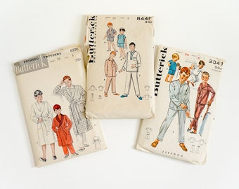 Vintage 1950s Boys Size 8 Pajama and Robe Butterick Sewing Patterns Complete / chest 26 waist 23 / Your Choice or All Three
