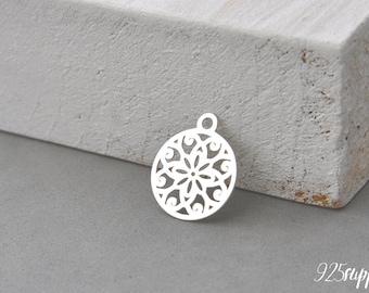 925 Sterling Silver Mandala, Mandala Pendant, Mandala Charm, Silver Mandala, Small Mandala, jewelery making, semi-finished jewelery, mandala