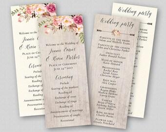 Boho Wedding Program Template, Order of Ceremony, Wedding Ceremony Program, TWO BACKGROUNDS - Floral Rustic Boho Flowers Bouquet Peonies