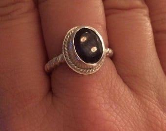 Sterling silver twist wire Iolite gemstone ring.
