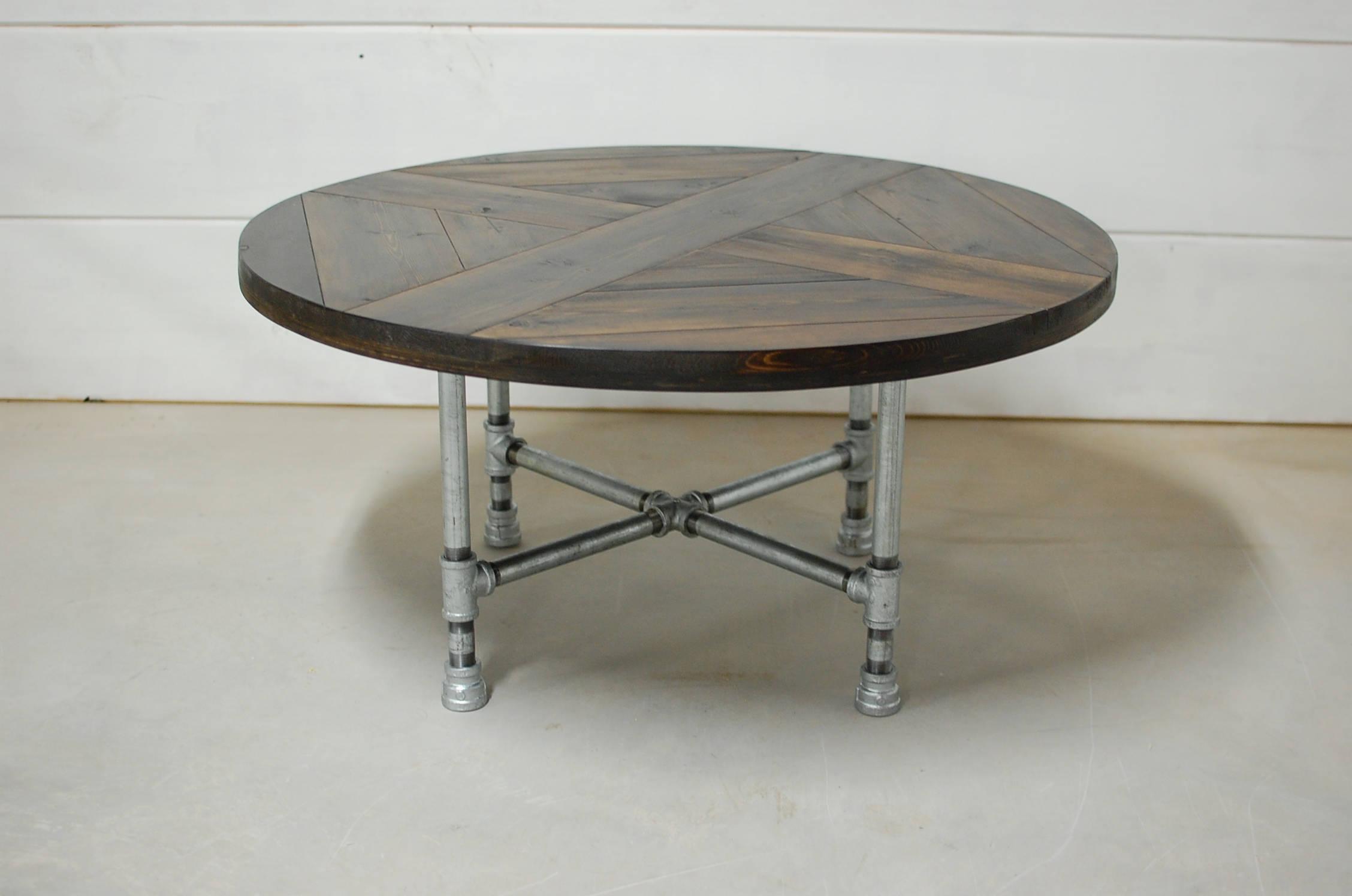 Round Industrial Coffee Table Industrial Pipe Legs Reclaimed