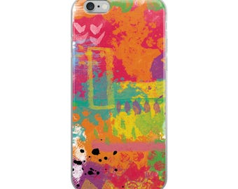 Love To Paint 04B Digital Painting Colorful Acrylic Paints Stenciled Textured iPhone Case