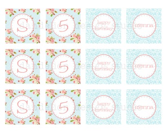 PRINTABLE Party Tags - Blue Shabby Chic Party Collection - Dandelion Design Studio