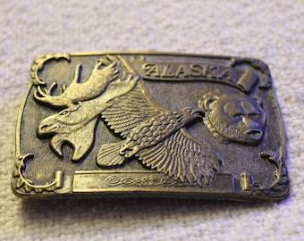 Vintage Alaskan Brass Belt Buckle