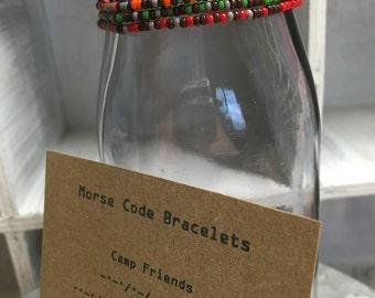 """Kids size Morse Code """"Camp Friends"""" stretchy bracelet - Includes 4 Bracelets"""