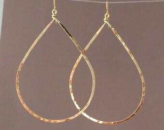 Oversized Gold Hammered Teardrop Hoop Earrings