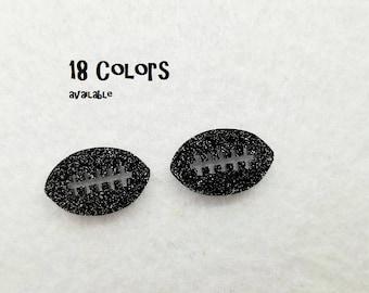 Football Laser cut glitter Acrylic cabochon- 8pcs (You Pick Color)