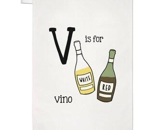 Letter V Is For Vino Tea Towel Dish Cloth