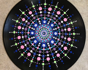 Original acrylic mandala painting on recycled vinyl record