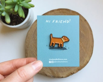 Brown Dog Enamel Pin