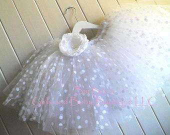 White with White Polka Dot Tutu Skirt,  Flower Girl Tutu Skirt, wedding, birthday, flower girl, photo prop