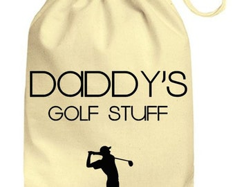 Personalized Drawstring Cotton Gift Bag Mummys / Daddys Golf Stuff Gift Bag, Personalised Golfing bits and bobs bag, Cute gift bag funny