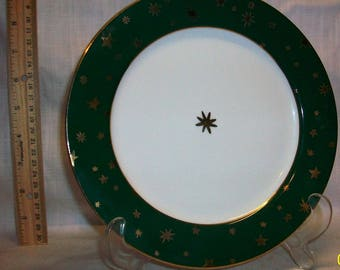 Listing 210 is a Galaxy china plate green and gold