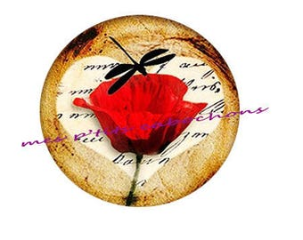25 mm - pretty poppy 3 glass cabochon